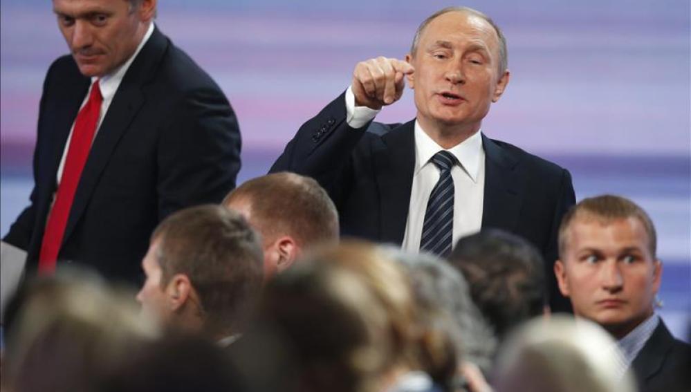 El presidente ruso, Vladimir Putin, durante su rueda de prensa anual en Moscú