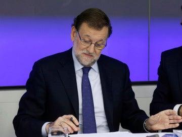 Mariano Rajoy en la reunión con la dirección
