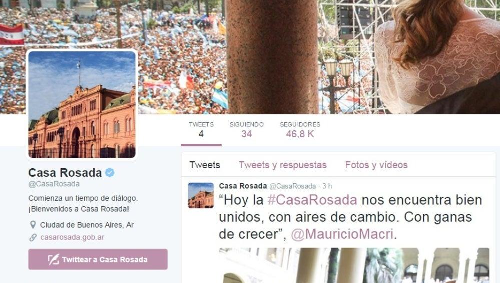 Twitter de la Casa de Gobierno argentino