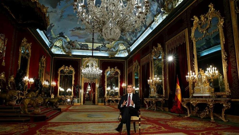 Felipe VI, durante el Menaje de Navidad en el Palacio Real