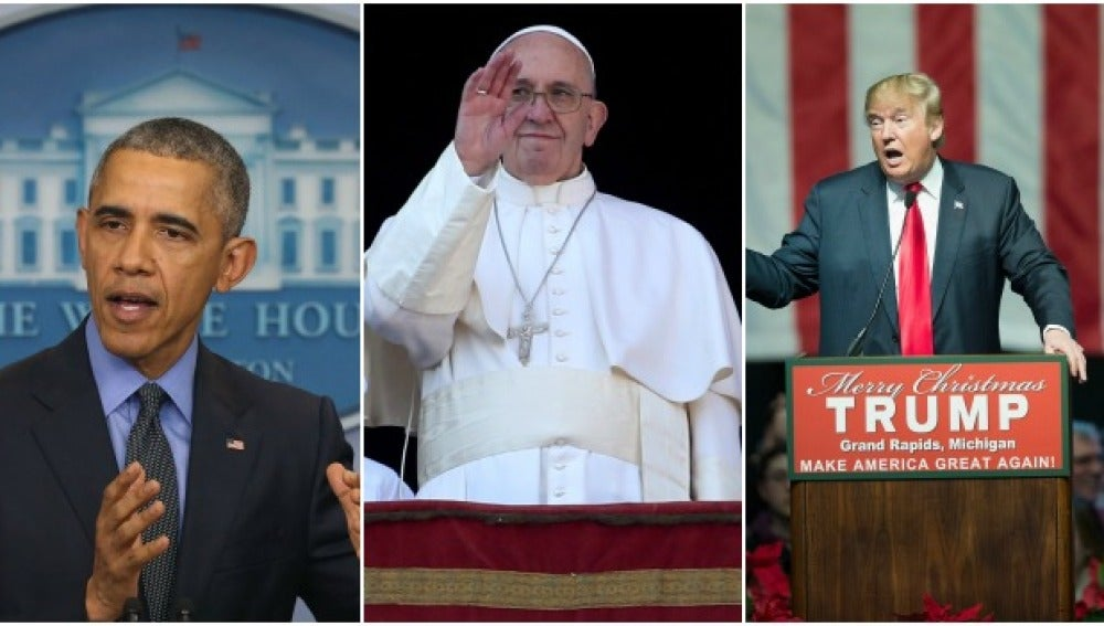 Barack Obama, el papa Francisco y Donald Trump