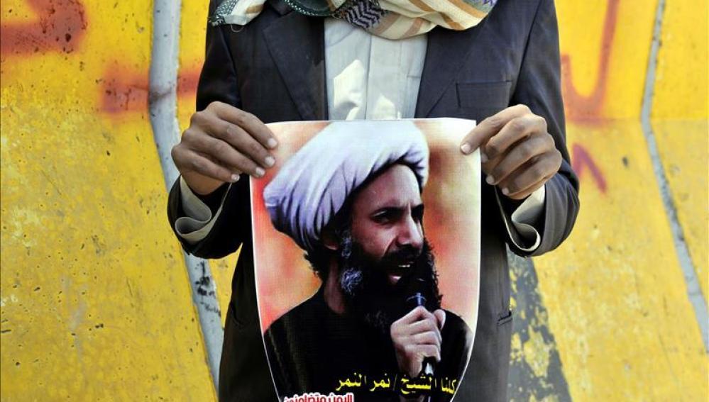 Imagen de una fotografía del clérigo y dirigente chií, Nimr Baqir al Nimr
