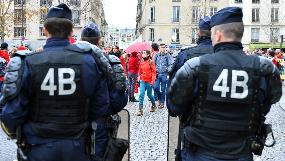 La Policía francesa durante una manifestación en París
