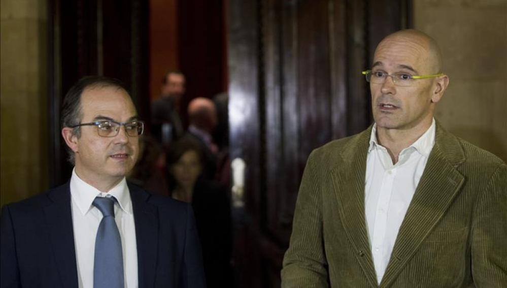 Los diputados Josep Rull y Raül Romeva