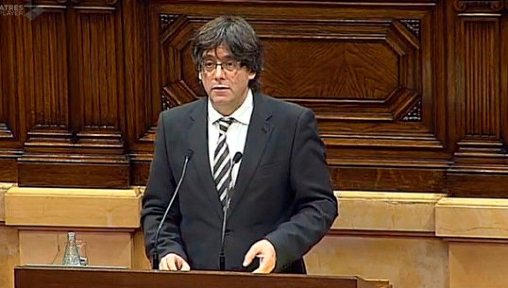 Carles Puigdemont, en el Parlament