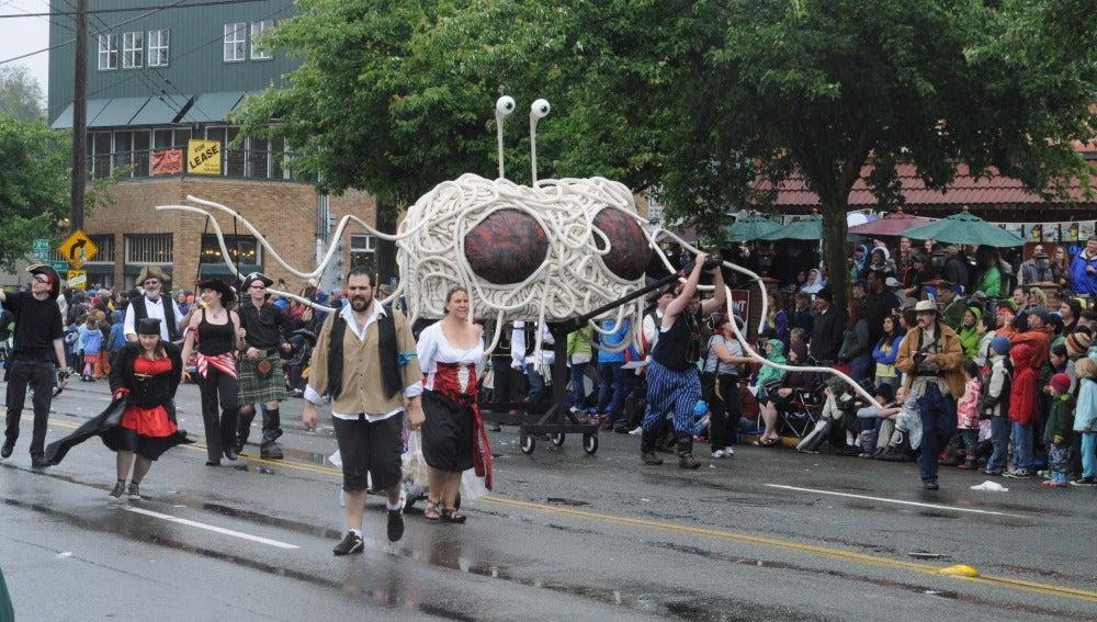 Una manifestación de Pastafaris en Seattle