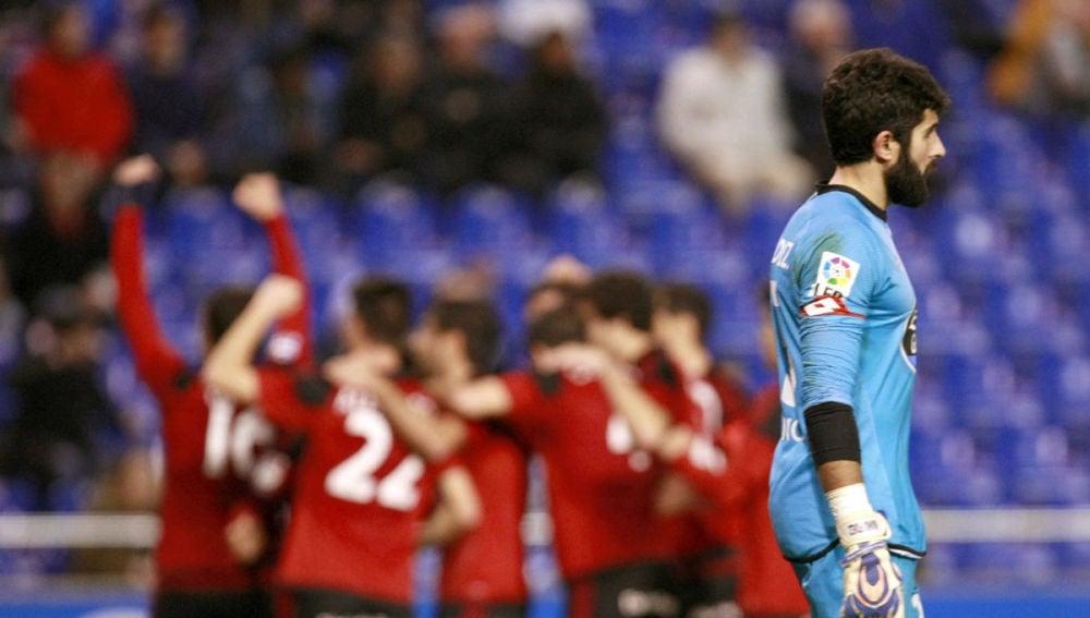 Los jugadores del Mirandés celebran un gol en Riazor