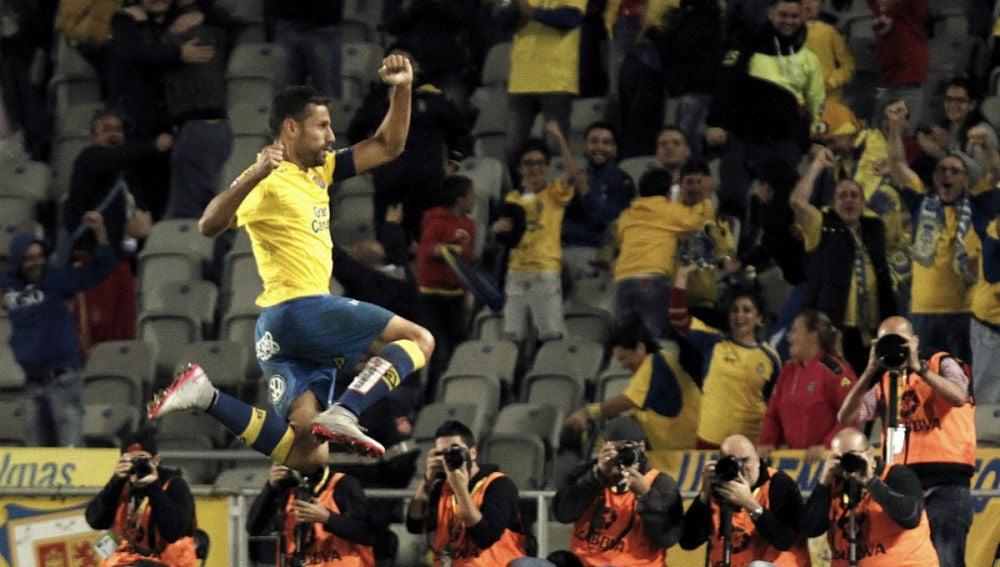 David García celebra el 3-2 definitivo ante el Eibar