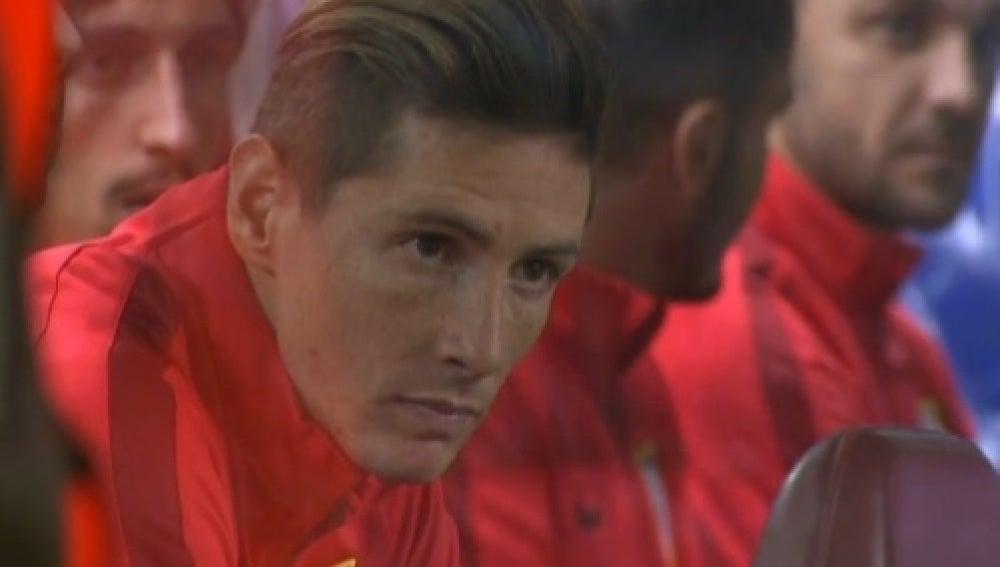 Fernando Torres, en el banquillo del Atlético