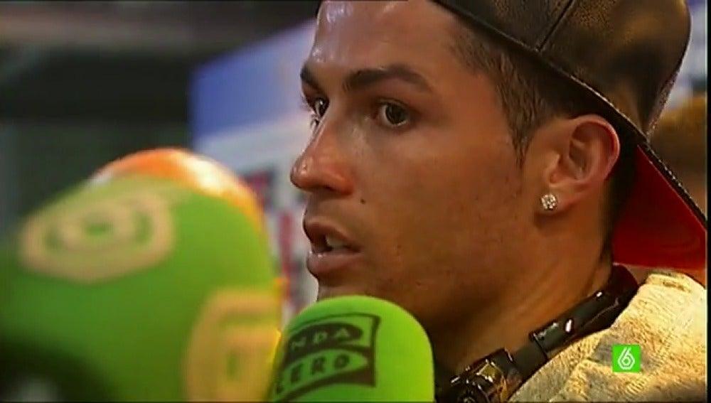 Cristiano Ronaldo, en zona mixta