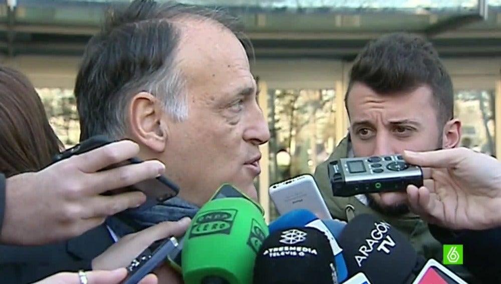Javier Tebas ante los medios de comunicación