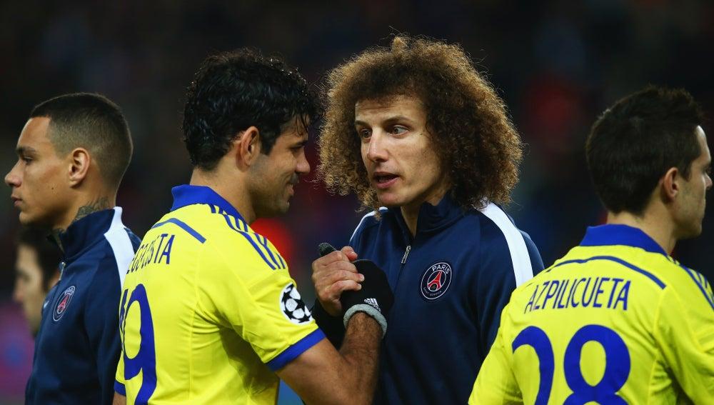 Diego Costa y David Luiz en un enfrentamiento de Champions League