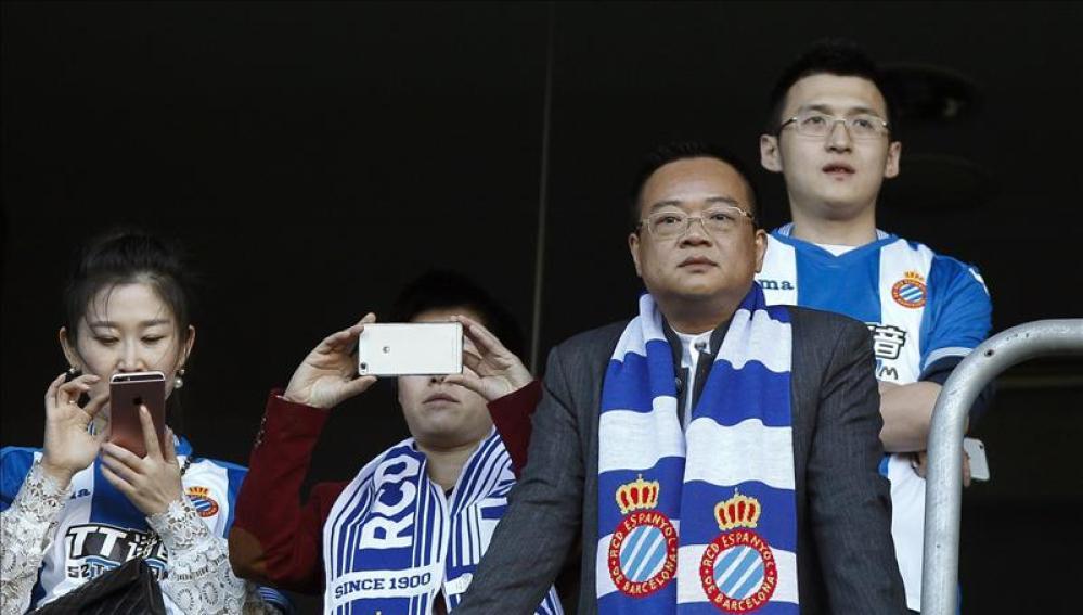 Chen Yansheng en un partido del RCD Espanyol