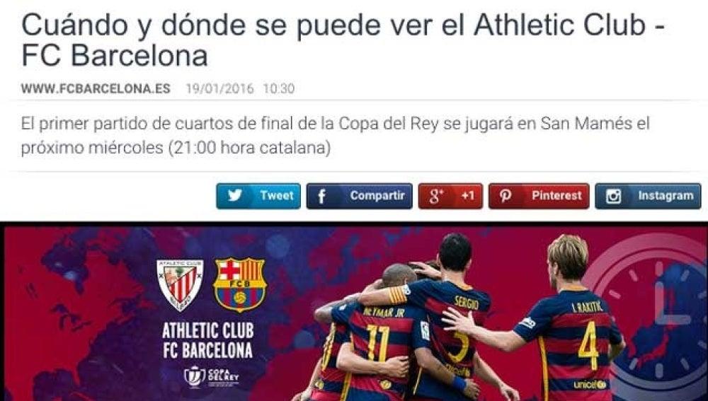 Captura de la web del Barcelona, que ponía el partido en hora catalana