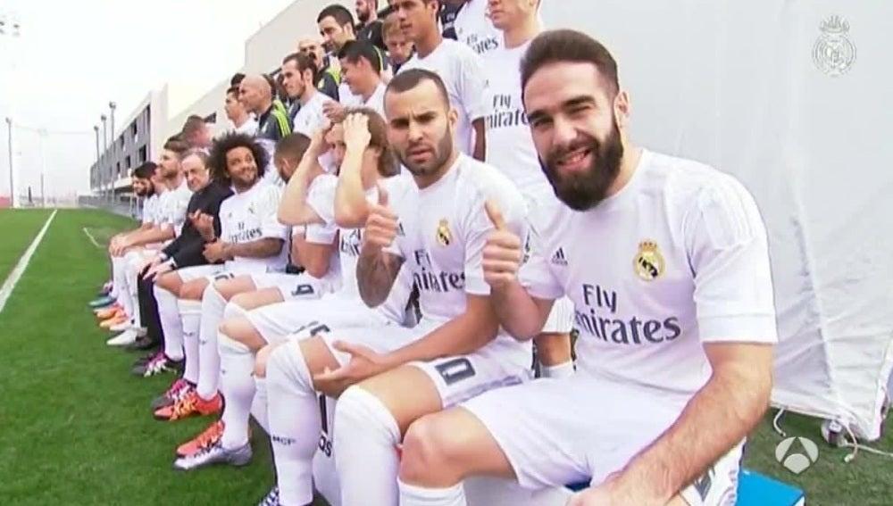 Los jugadores del Real Madrid posan para la foto oficial del equipo