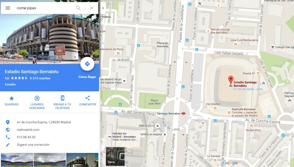'Come pipas' en Google Maps