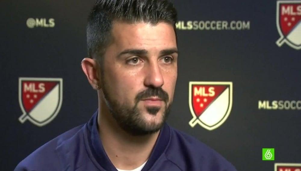 David Villa, durante una entrevista