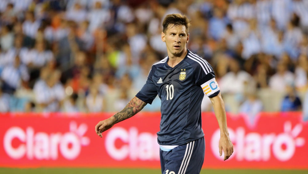 Leo Messi, en un encuentro con Argentina