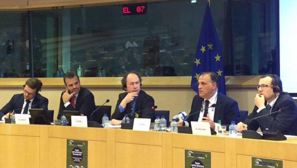 Javier Tebas, en el Parlamento Europeo