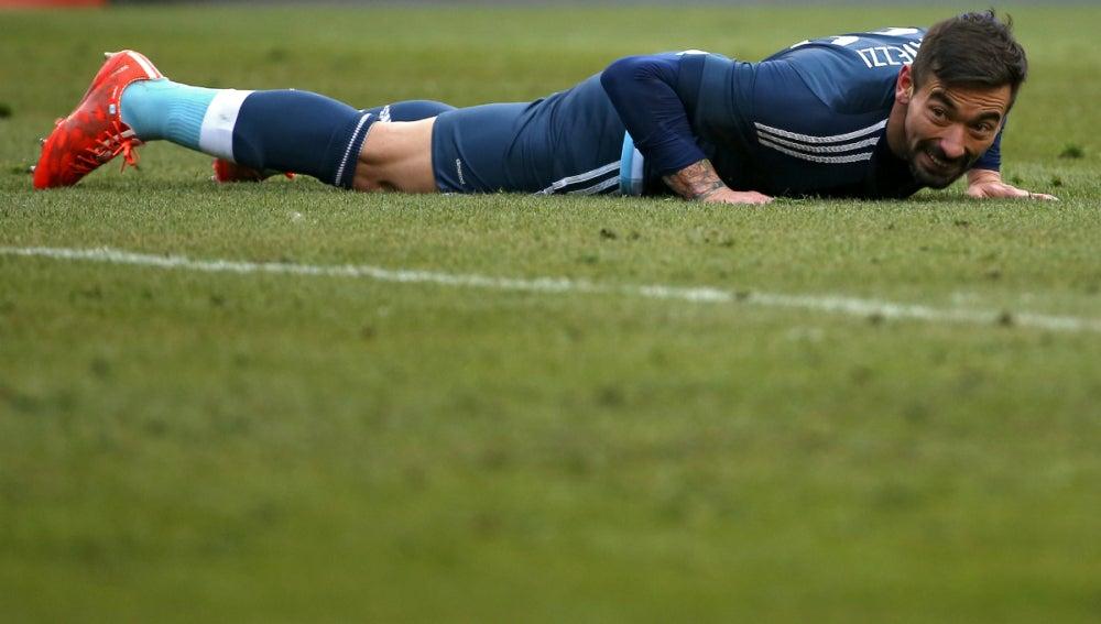 Lavezzi, durante un partido con Argentina