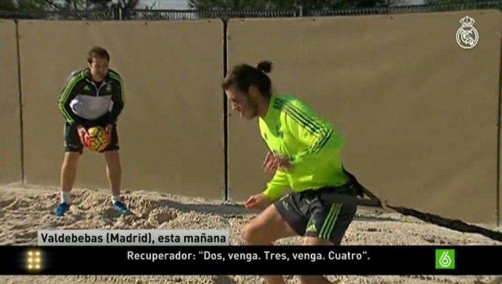 Bale se entrena sobre la arena de Valdebebas