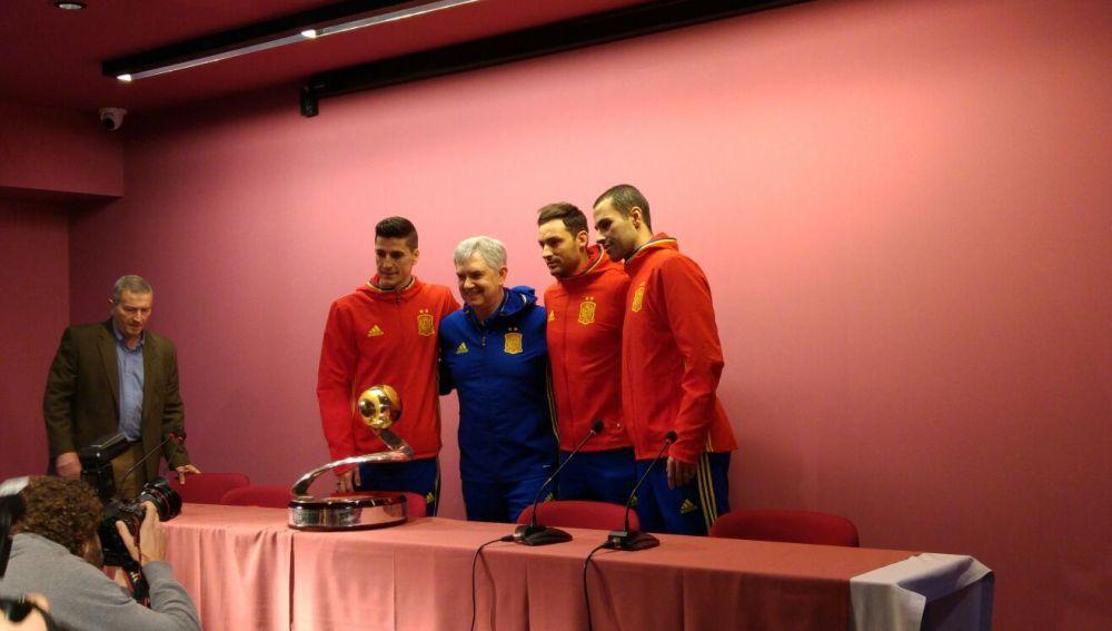 Carlos Ortiz, José Venancio, Juanjo y Fernandao, durante la rueda de prensa