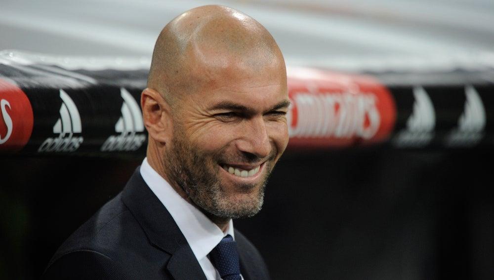 Zinedine Zidane en el partido frente al Espanyol