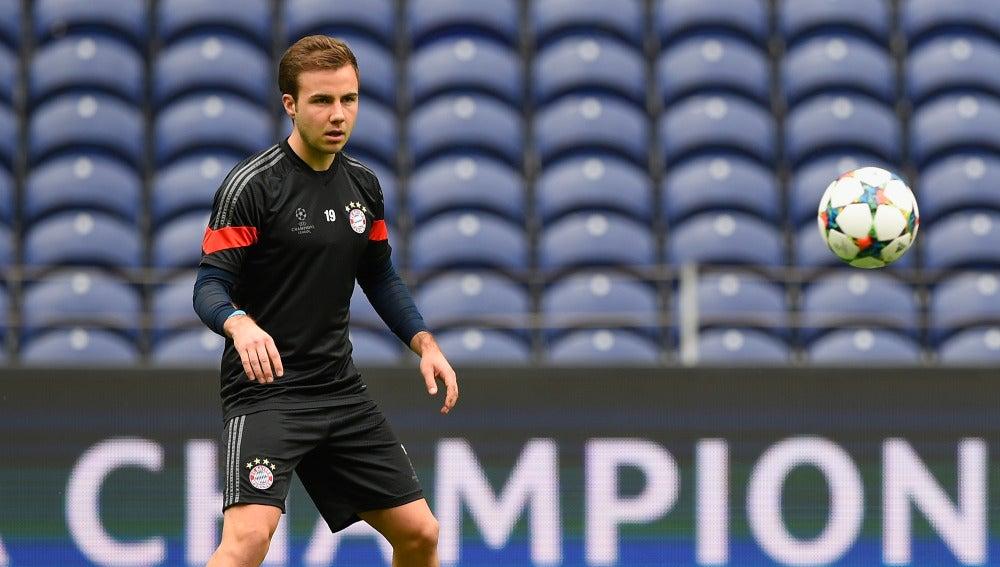 Mario Götze entrenando con el Bayern
