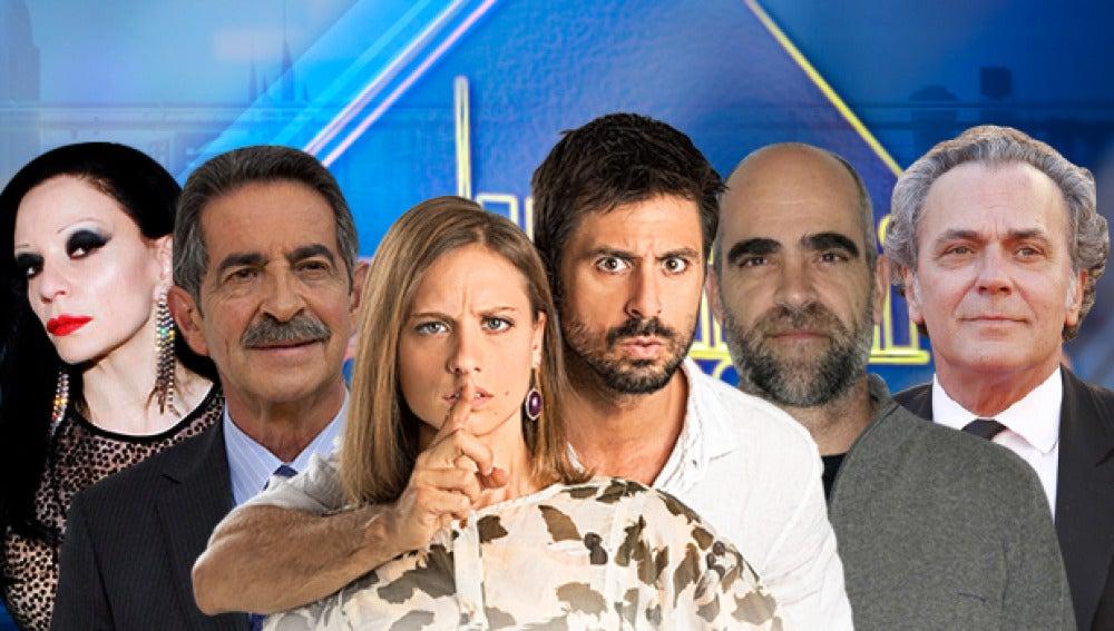 Alaska, Miguel Ángel Revilla, Hugo Silva y Michelle Jenner y Luis Tosar y José Coronado en 'El Hormiguero 3.0'