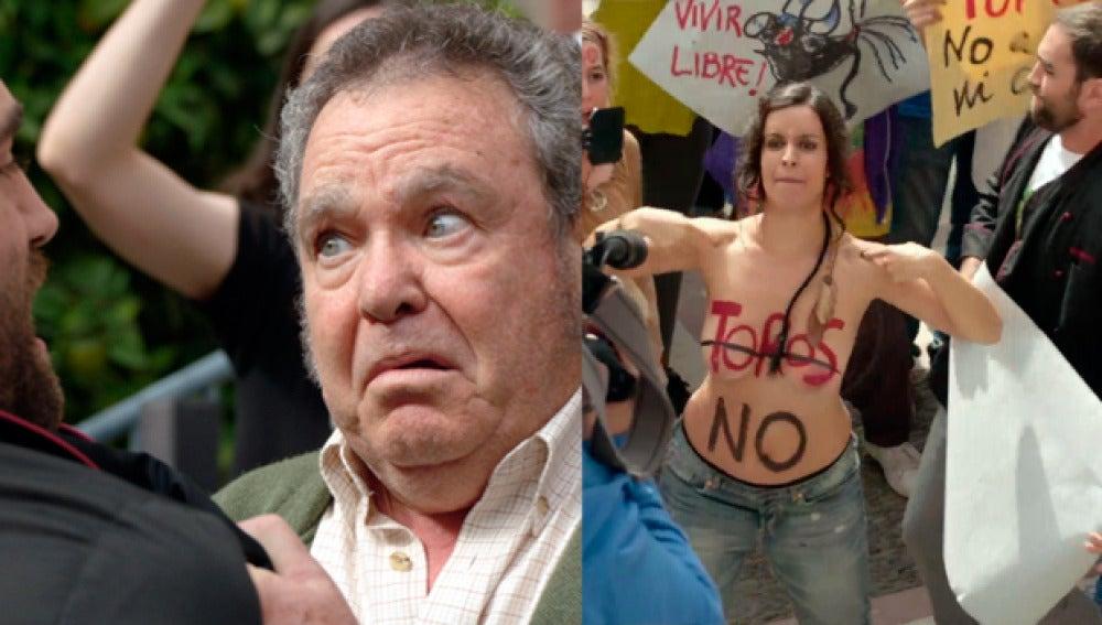 Elena se desnuda y Antonio conoce a su yerno en la manifestación ante la clínica
