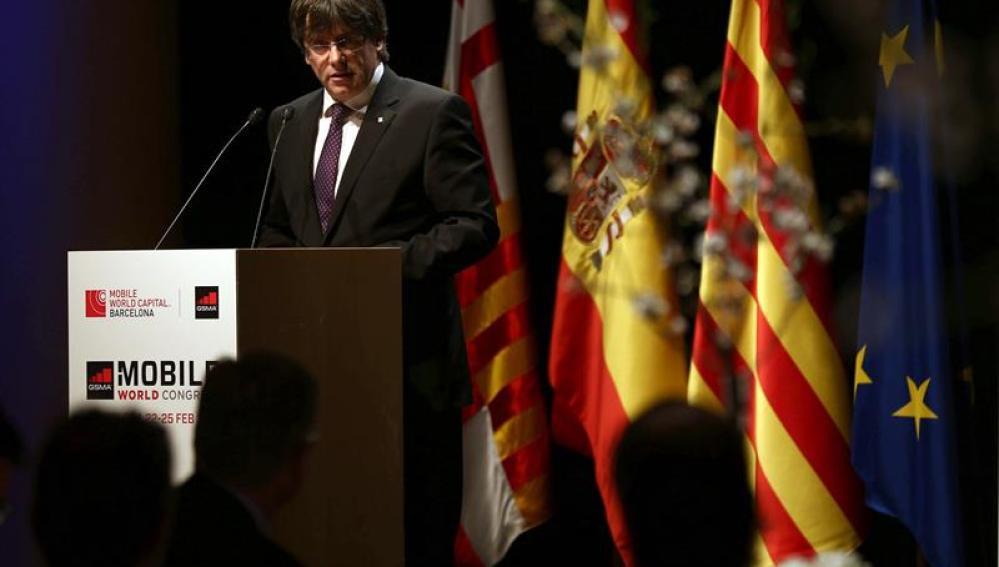 Carles Puigdemont, en la cena del MWC