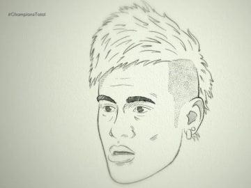 Neymar, dibujado a lápiz