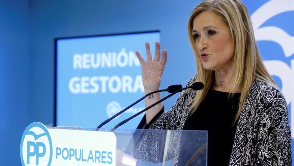 Cristina Cifuentes, durante un acto en la sede del PP