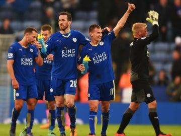 El Leicester celebra su victoria ante el Norwich