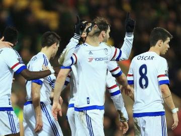 Diego Costa celebra su gol ante el Norwich