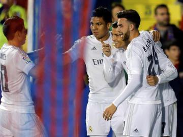 El Real Madrid celebra el gol de Ronaldo