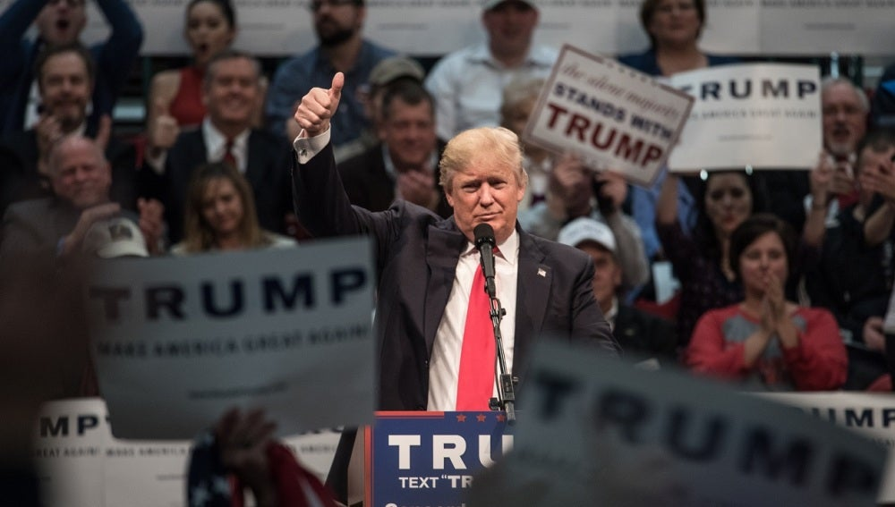 Donald Trump durante un mitin