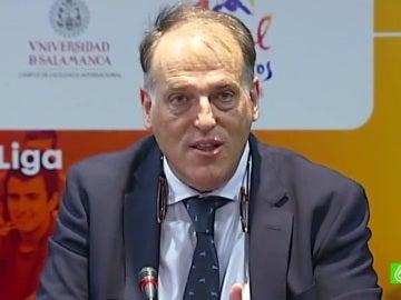 Javier Tebas, durante una conferencia de prensa
