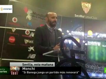 """Frame 19.286291 de: Monchi avisa a Banega:""""Si juega un partido más, renueva con el Sevilla"""""""