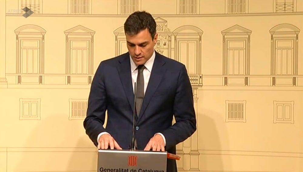 Pedro Sánchez. durante la rueda de prensa tras su encuentro con Puigdemont