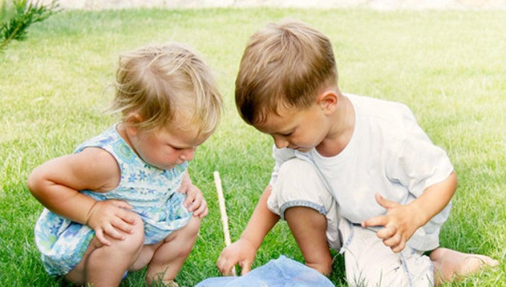 Imagen de dos niños jugando en el césped