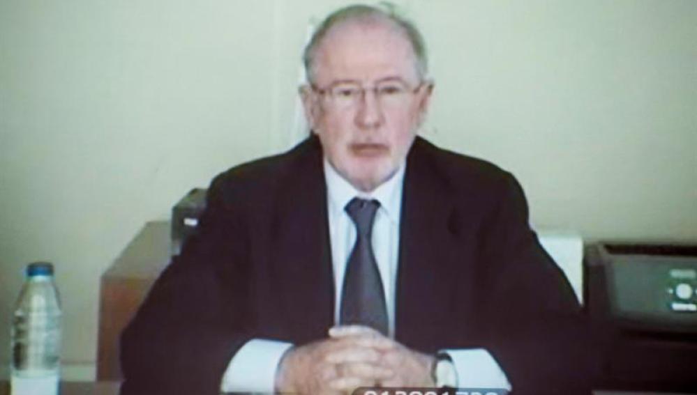 Rodrigo Rato, durante su declaración por videoconferencia