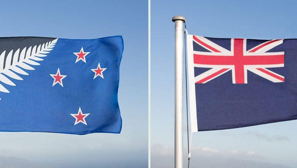 Los dos diseños de la bandera neozelandesa