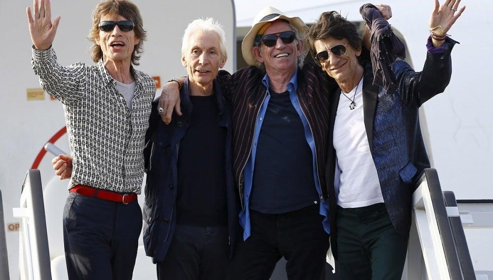 Los Rolling Stones a su llegada a Cuba