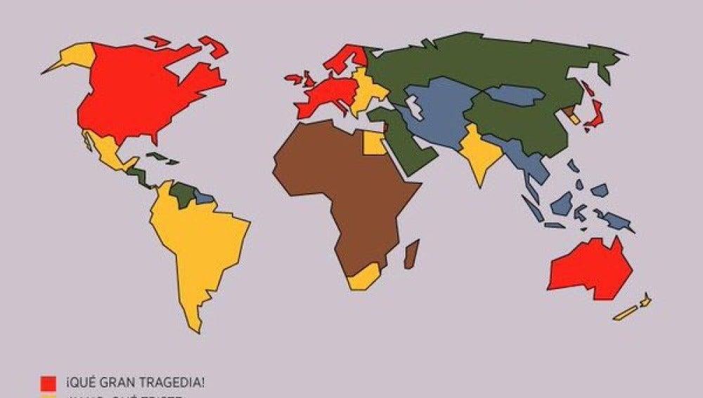 Mapa sobre la importancia de las tragedias mundiales