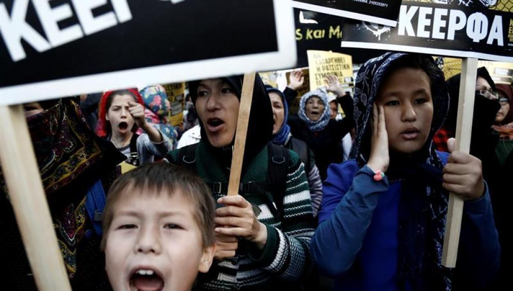 Manifestación de refugiados en Grecia