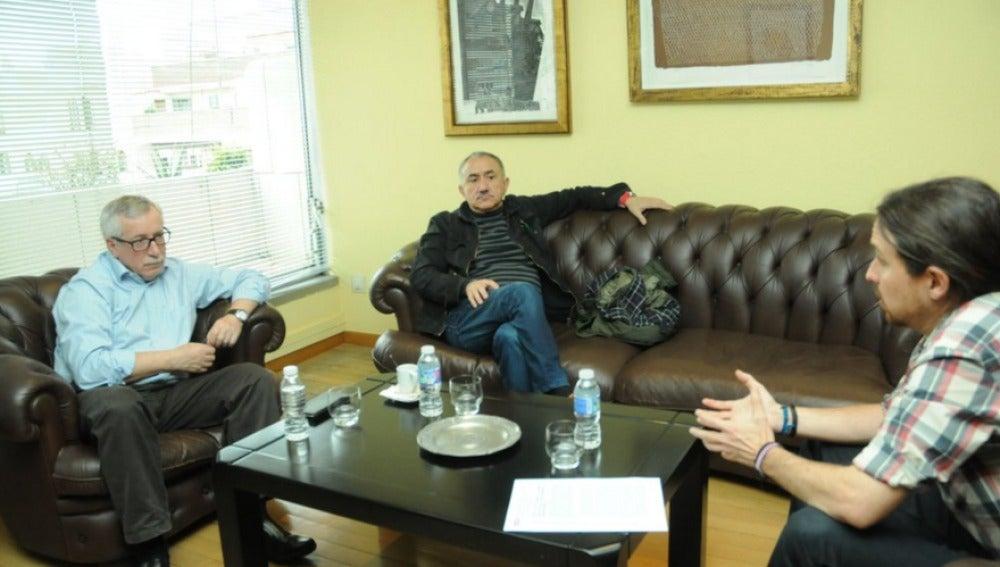Reunión entre CCOO, UGT y Pablo Iglesias