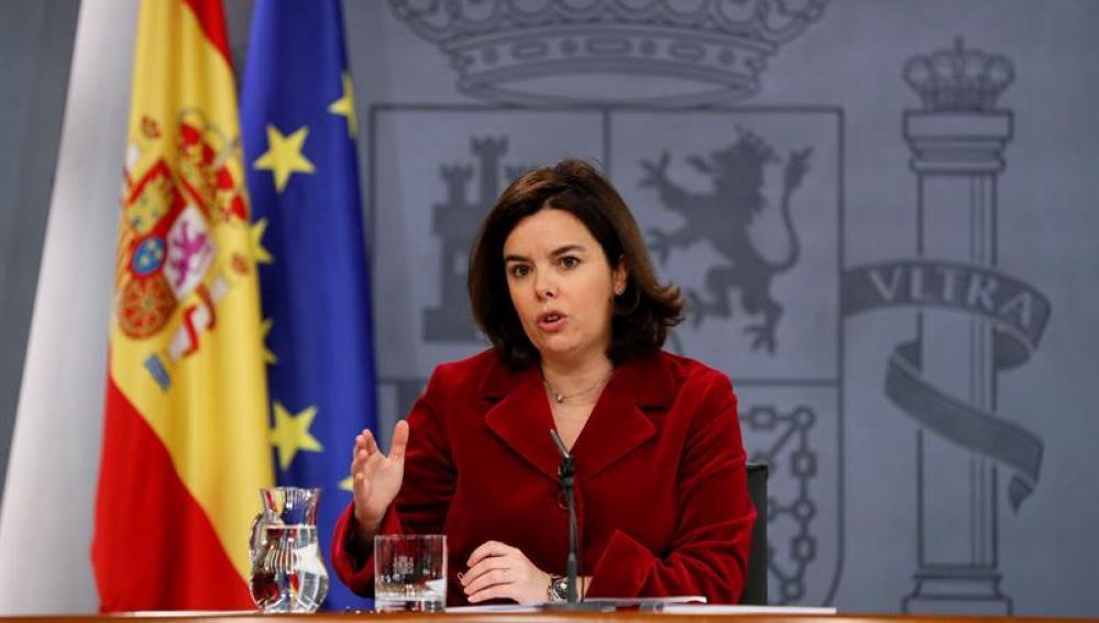 Soraya Sáenz de Santamaría, en rueda de prensa tras el Consejo de Ministros