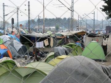 Campamento de refugiados en Grecia