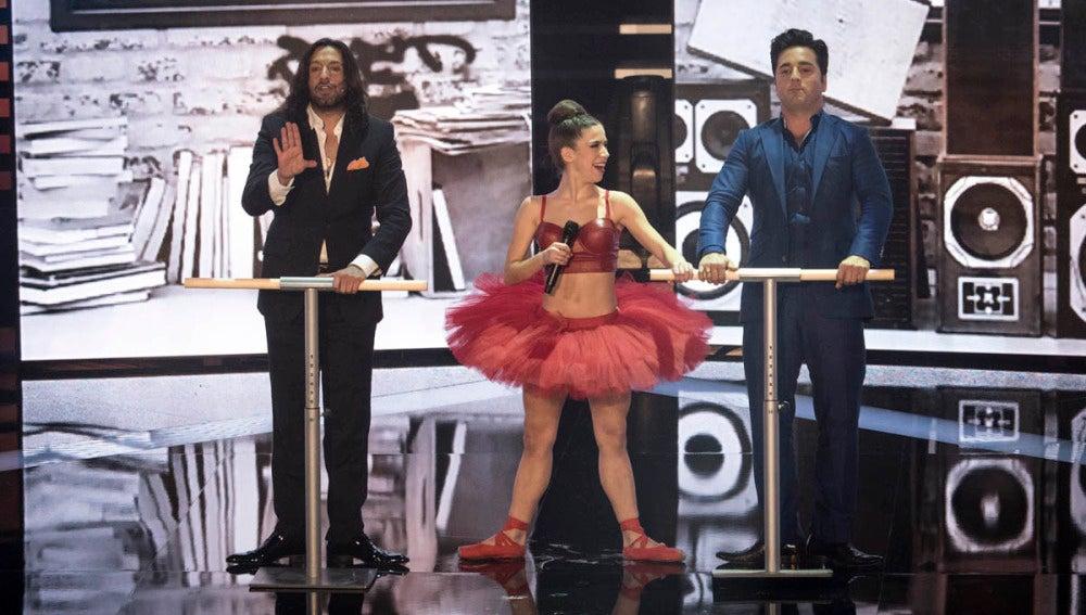 Rafael Amargo, Elena Suárez y Bustamante en las barras
